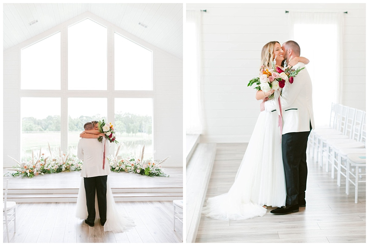 Bride and Groom first look embrace inside Chapel with floor to ceiling windows | The Farmhouse Events Real Weddings | A Summer Vision of Love | Kristin & Rob