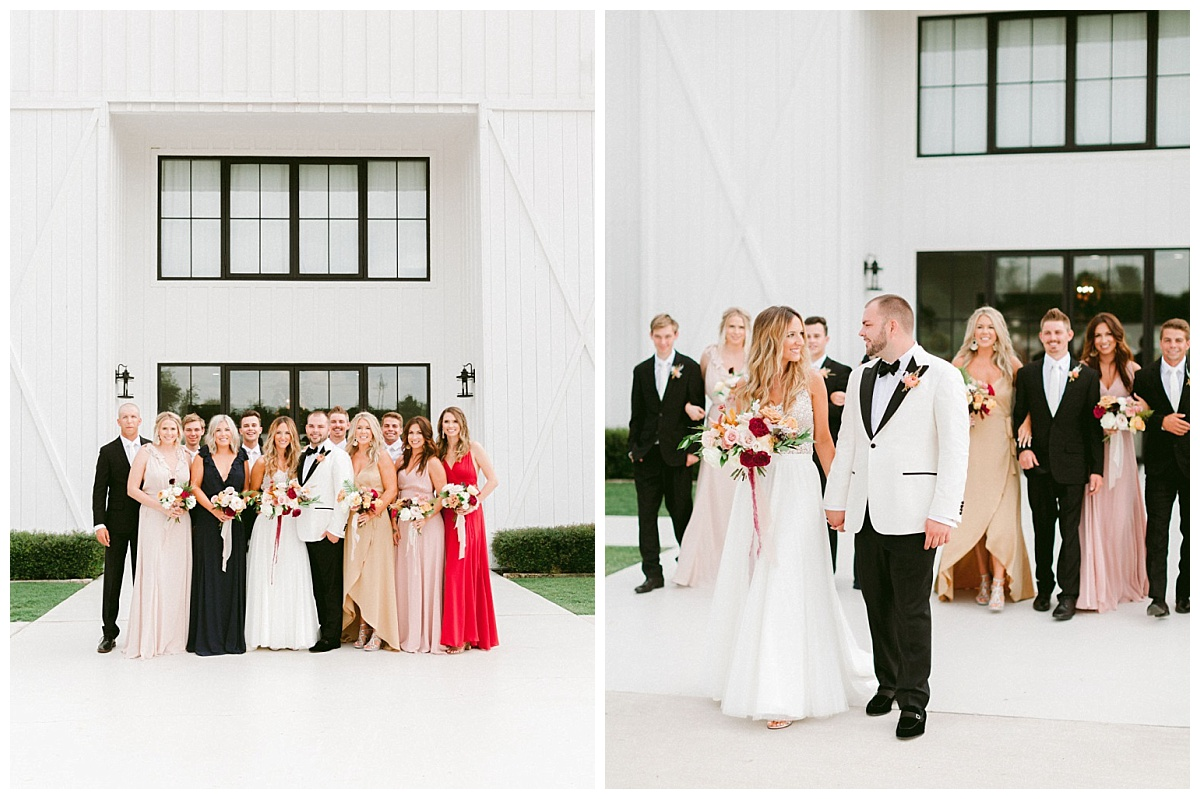 Bridal party with Bride and Groom in front of The Farmhouse | The Farmhouse Events Real Weddings | A Summer Vision of Love | Kristin & Rob