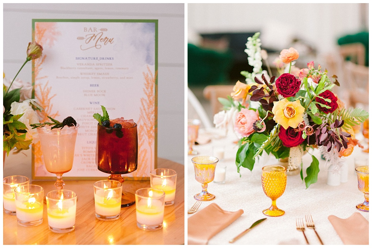 signature bar menu and close up of floral centerpiece | The Farmhouse Events Real Weddings | A Summer Vision of Love | Kristin & Rob