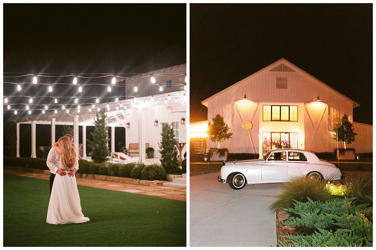 private last dance of bride and groom and front of farmhouse and getaway car | The Farmhouse Events Real Weddings | A Summer Vision of Love | Kristin & Rob