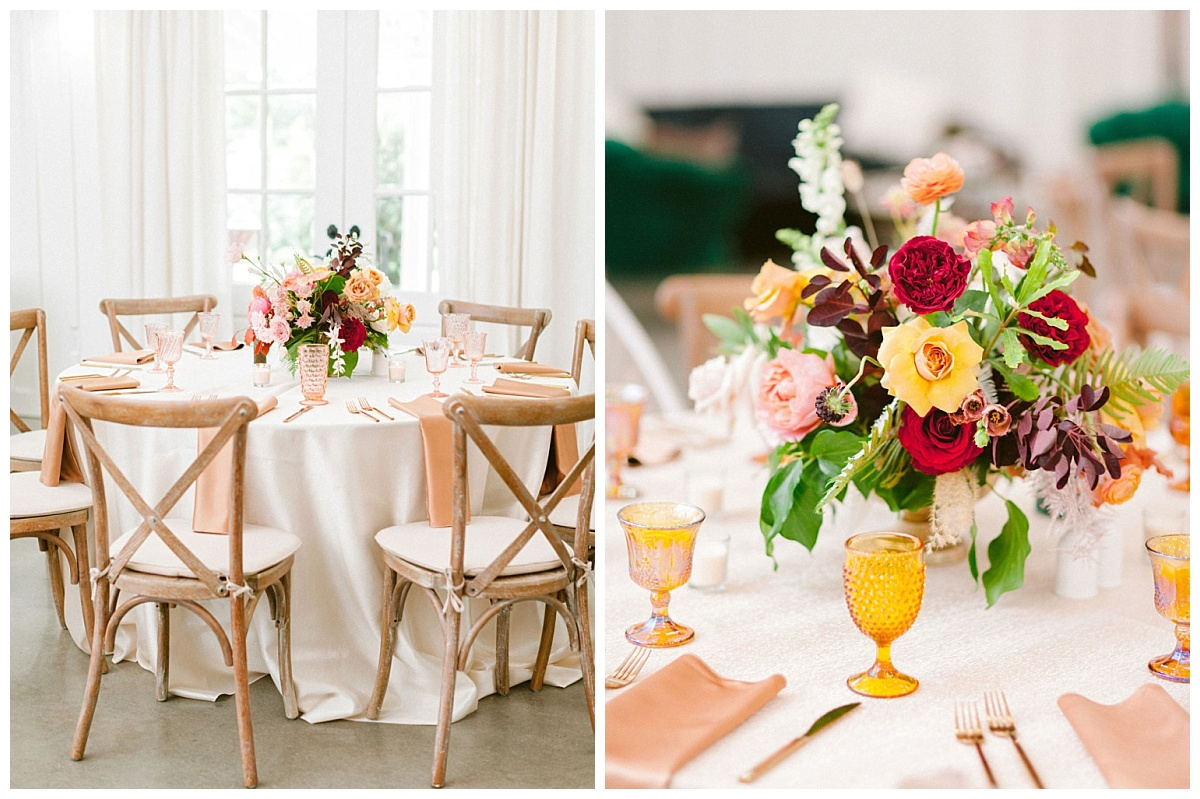 table decor and close of of floral arrangement and goblet|The Farmhouse Events Real Weddings | A Summer Vision of Love | Kristin & Rob
