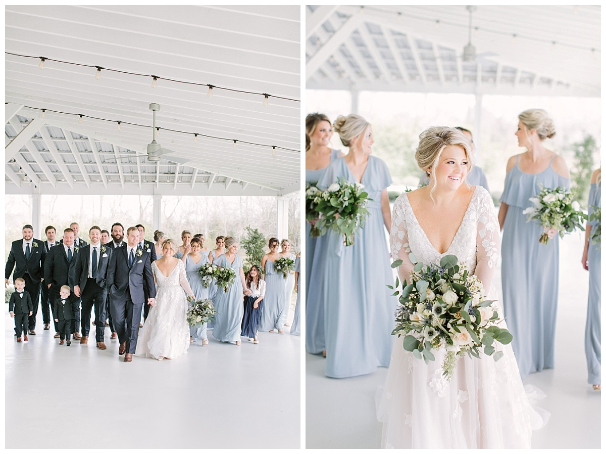 Bride and Groom accompanied by wedding party and closeup of bride with bridesmaids | The Farmhouse Events Real Weddings| A Little Something Blue| Kelly & Jarrod
