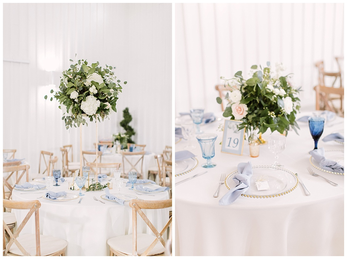 Tablesettings and floral arrangements | The Farmhouse Events Real Weddings| A Little Something Blue| Kelly & Jarrod