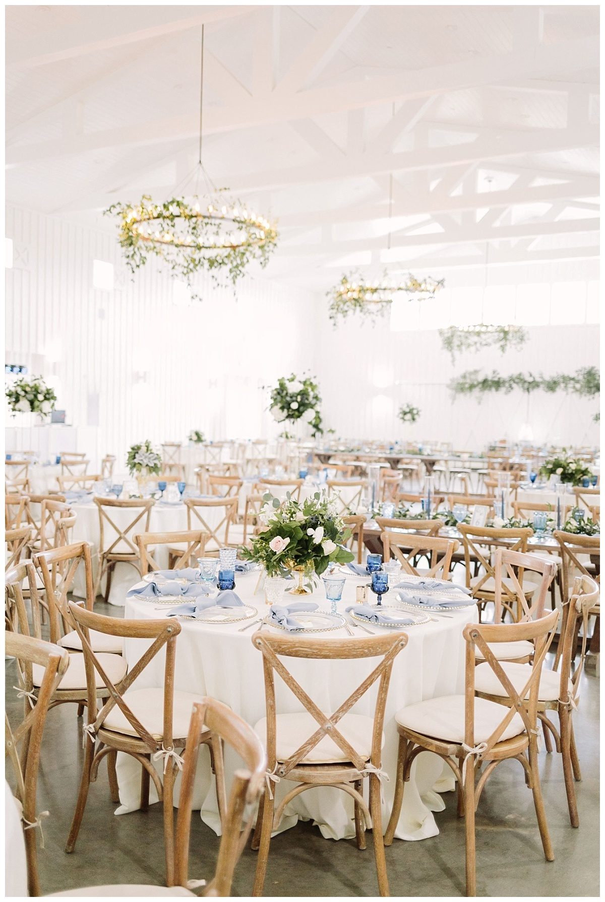 Beautiful view of reception space with tablescapes | The Farmhouse Events Real Weddings| A Little Something Blue| Kelly & Jarrod
