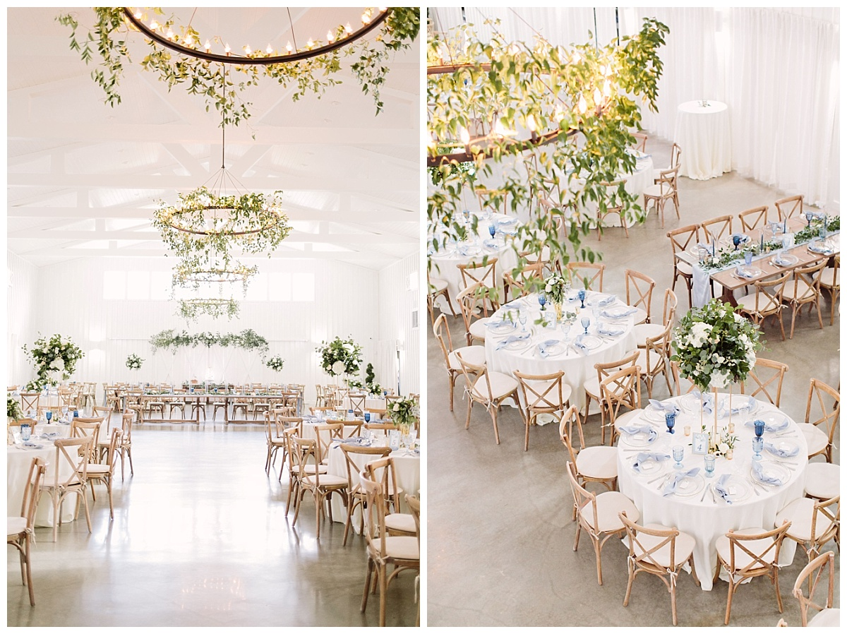 Different angles of reception space showcasing decorated chandeliers | The Farmhouse Events Real Weddings| A Little Something Blue| Kelly & Jarrod