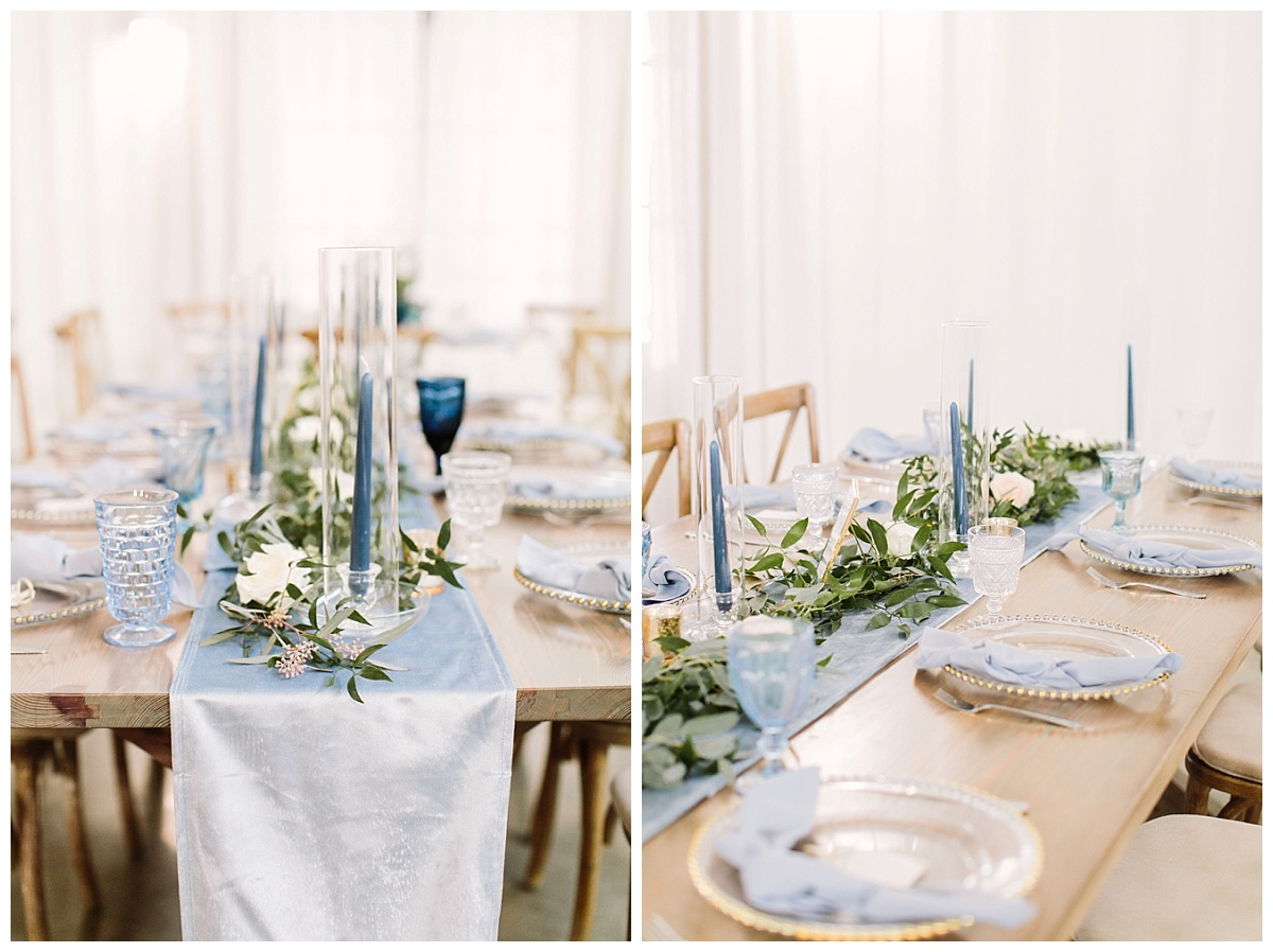 tablescape blue candles and goblets | The Farmhouse Events Real Weddings| A Little Something Blue| Kelly & Jarrod