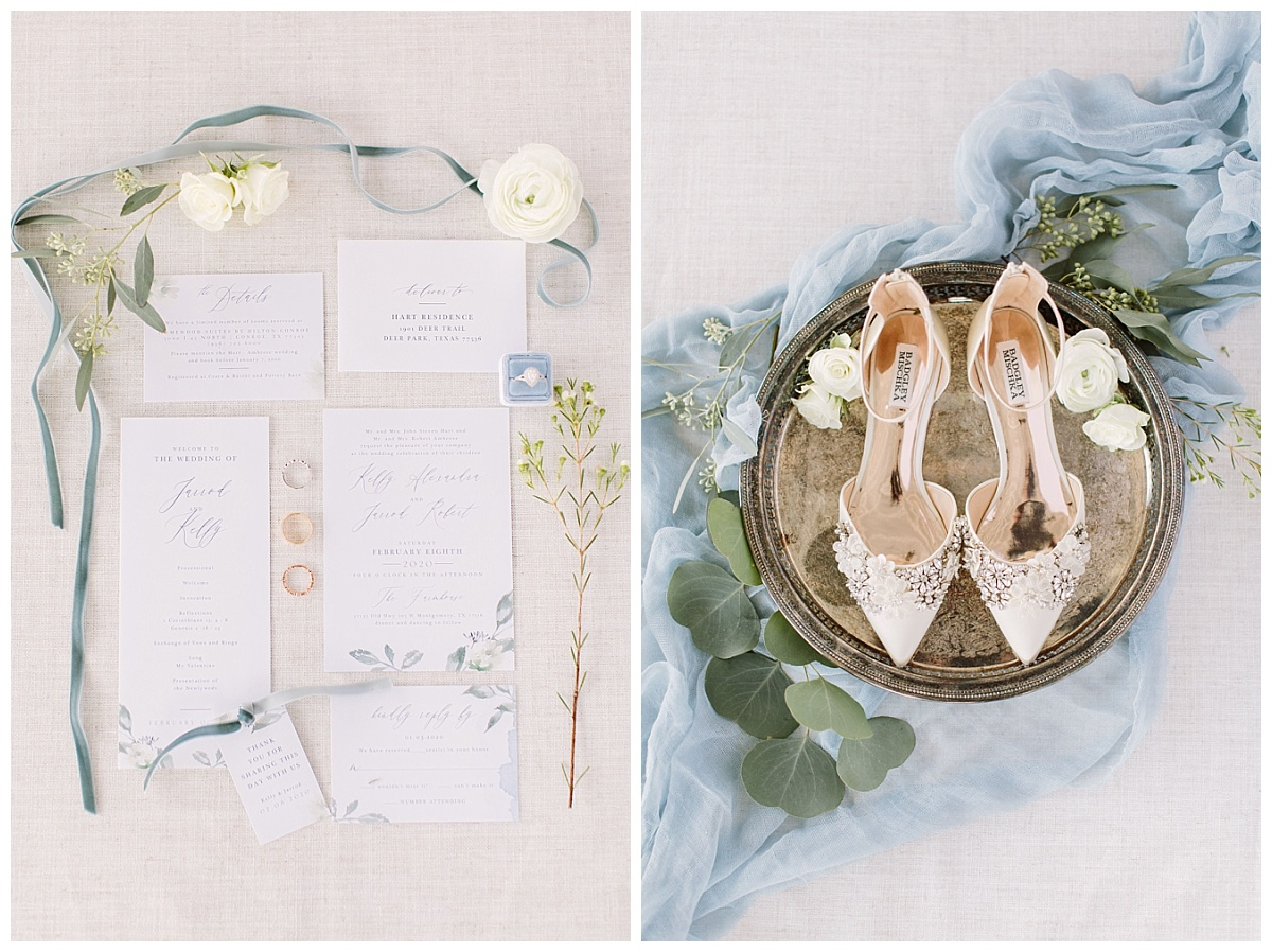 flatlay of invites and bride's details | The Farmhouse Events Real Weddings| A Little Something Blue| Kelly & Jarrod