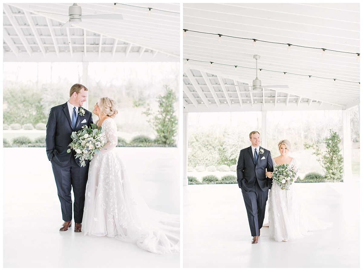 bride and groom in porch | The Farmhouse Events Real Weddings| A Little Something Blue| Kelly & Jarrod