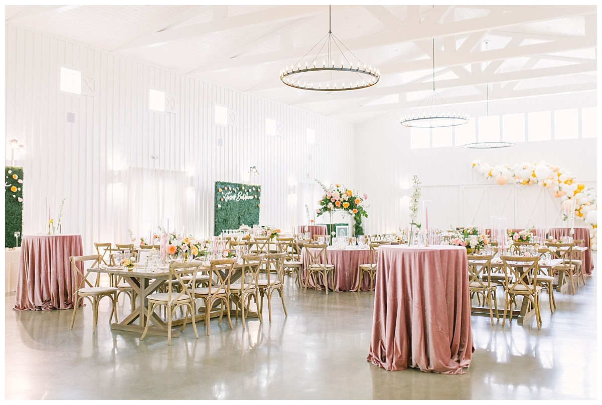 Gorgeous panoramic reception space shot of Te Farmhouse interior | The Farmhouse Events Real Weddings| Montgomery TX| Christina & Eric