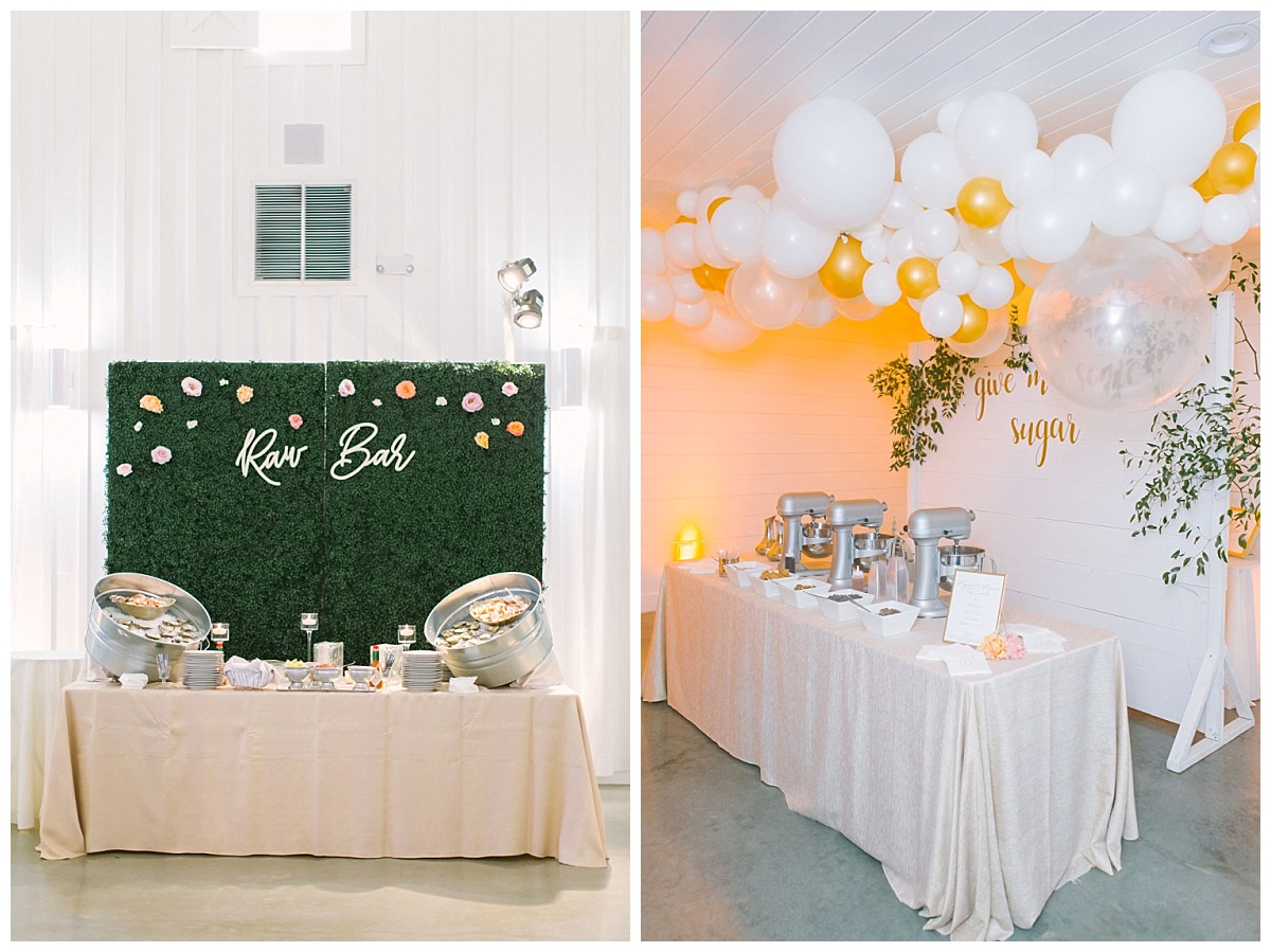 Raw bar Food station and Nitro Ice Cream bar | The Farmhouse Events Real Weddings| Montgomery TX| Christina & Eric
