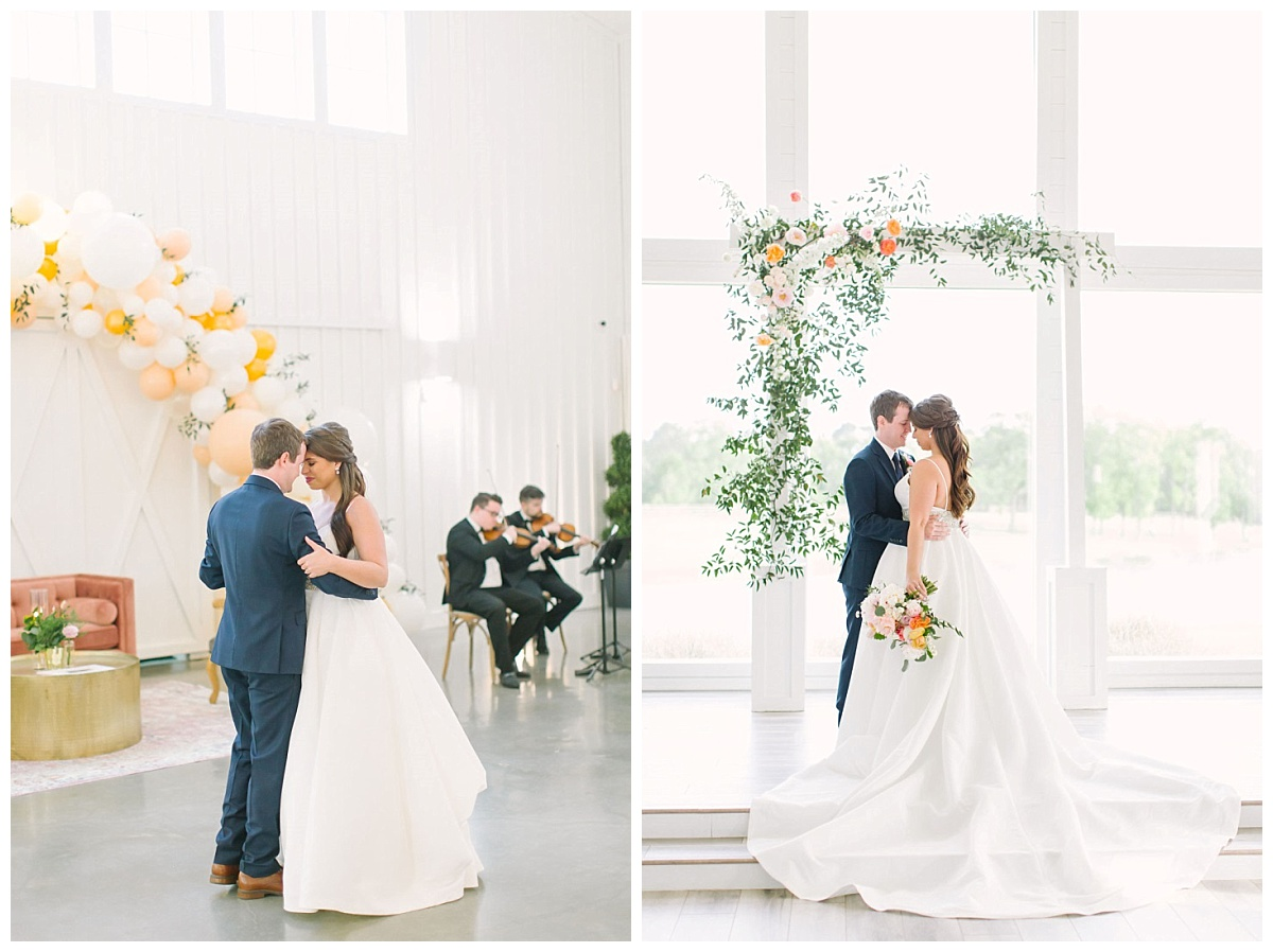 intimate embrace of bride and groom in reception space dancing and in chapel with white arbor in background | The Farmhouse Events Real Weddings| Montgomery TX| Christina & Eric